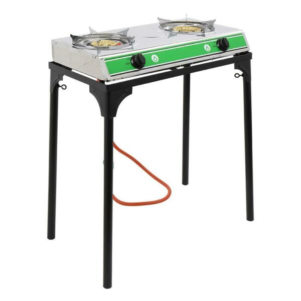 Zokop Portable Propane Gas 2 Burner Outdoor Camping Stove Table Stand 20000 BTU