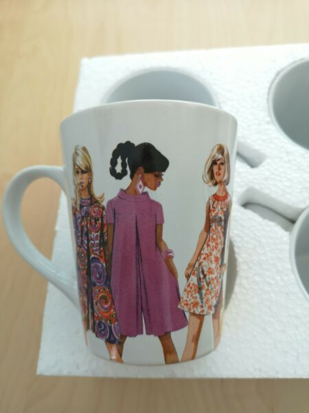 4 pack Simplicity Vintage Style Collection Coffee Mug 12 Oz.1960s