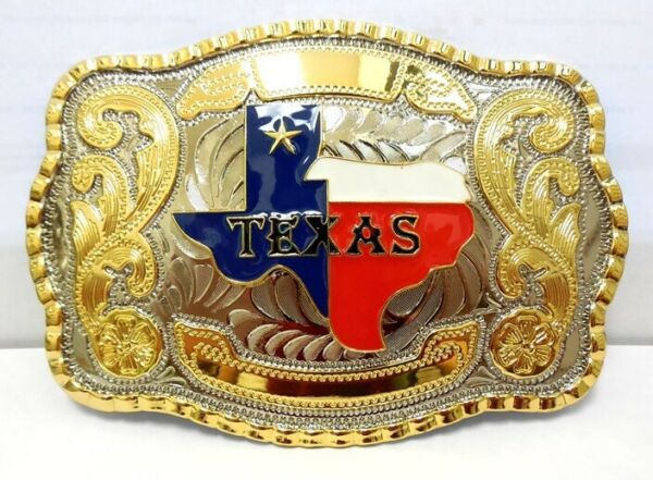 TEXAS STATE BELT BUCKLE MAP FLAG WESTERN COWBOY RODEO HEAVY FASHION STAR COLOR $15.95