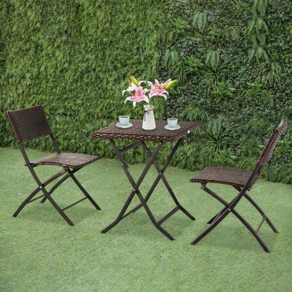 In Outdoor Patio Furniture Wicker 3PC Bistro Set Rattan Table 2 Chairs Brown $105.99