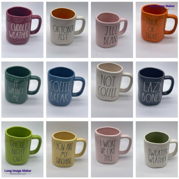 """Rae Dunn LL Large Letter Coffee Mug Assorted HTF 2018 2019 quot;Buy 3 Get 1 Free"""""""