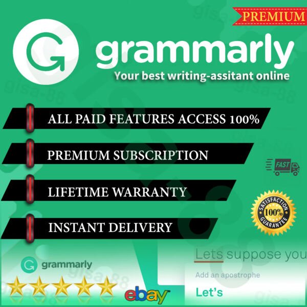 Grammar ly 🌟 Premium Account LIFETIME WARRANTY 🌟INSTANT DELIVERY 100% ✔️🌟 A $4.19