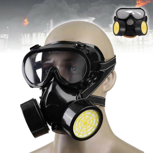Emergency Safety Respiratory Gas Mask Goggles amp; 2 Dual Protection Filter