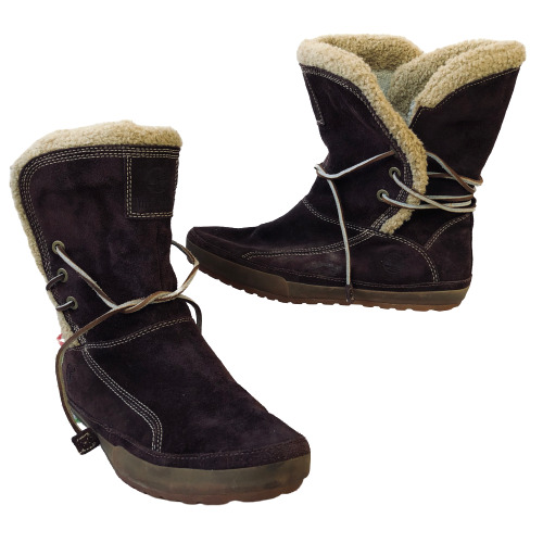 Timberland Winter Boots Brown Suede SmartWool Lined Wrap Laces Womens 8.5 $59.99