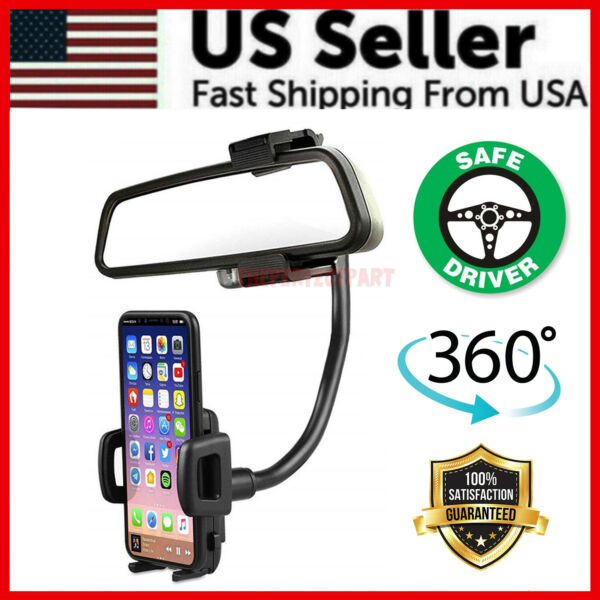 Universal 360° Car Rearview Mirror Mount Stand Holder Cradle For Cell Phone GPS $7.49