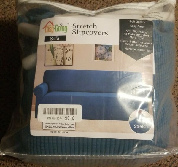 Easy Going Stretch Slipcover Sofa Peacock Blue $19.95