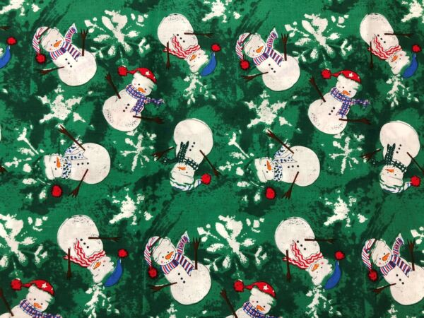 Christmas Winter Snowman w Stocking Caps on Tonal Green by Hancock Fabric 28in