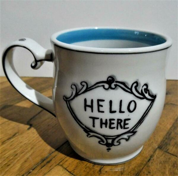 MOLLY HATCH Anthropologie quot;HELLO THEREquot; Ceramic 3.75quot; Coffee Cup Mug New Mint $19.99