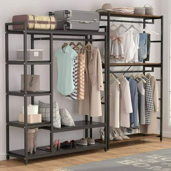 Modern Clothes Rack Wardrobe with 2 Large Shelvesamp; Handing Bar Closet System US