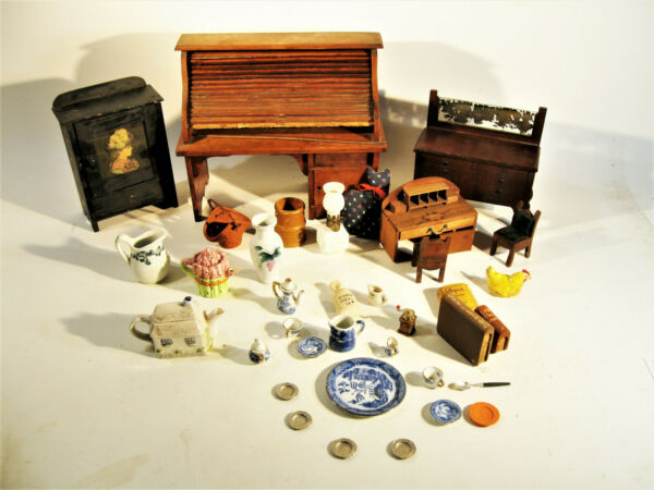 Estate Lot Of Antique Doll House Accessories