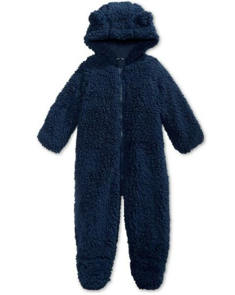 First Impressions Snowsuit Baby Boy amp; Girl Hooded Footed Faux Sherpa Bunting NWT