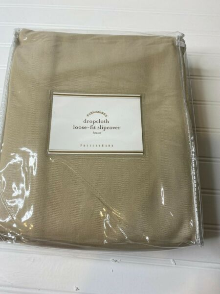 NEW Pottery Barn TWILL DROPCLOTH Loose Fit SLIPCOVER ARMCHAIR Beige NWT $79.95