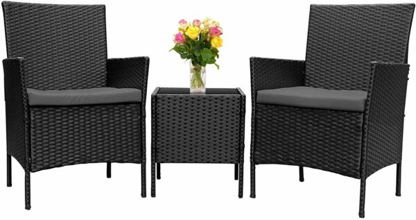 3Pieces Wicker Rattan Patio Outdoor Furniture Conversation Sofa Set Garden $109.99
