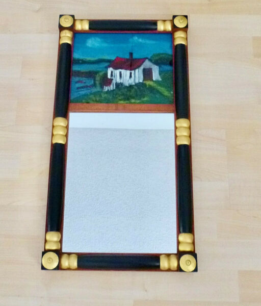 Antique FEDERAL Hitchcock Style REVERSE PAINT MIRROR quot;Old Mill by Streamquot; VGC