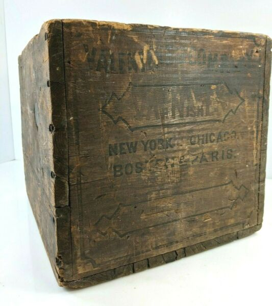 Antique Valentines Company Varnishes Wood Crate Display Box Advertising Case