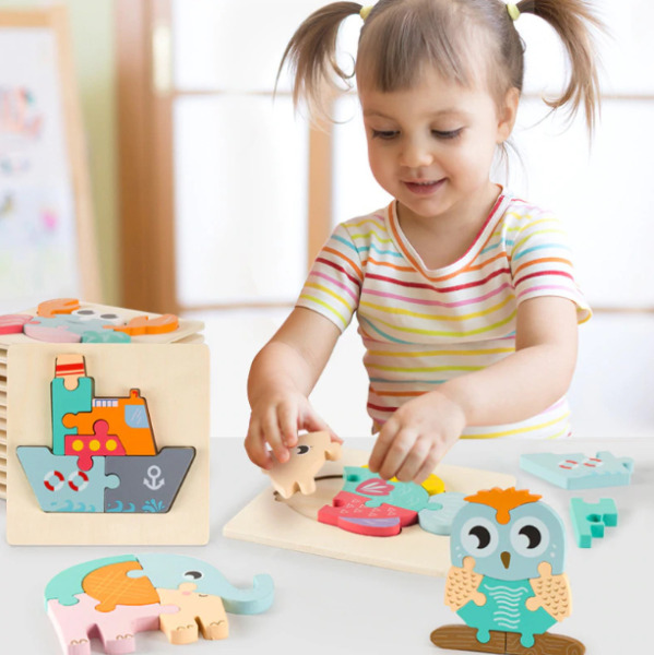 Intelligence Early Educational Learning 3D Wooden Puzzle Kids Baby Jigsaw Toy $11.99