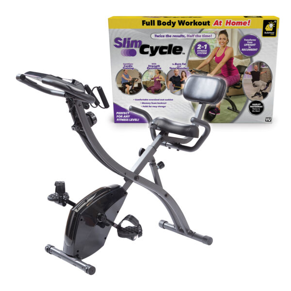 As Seen On TV Slim Cycle Stationary Bike Folding Indoor Exercise Bike with $199.99