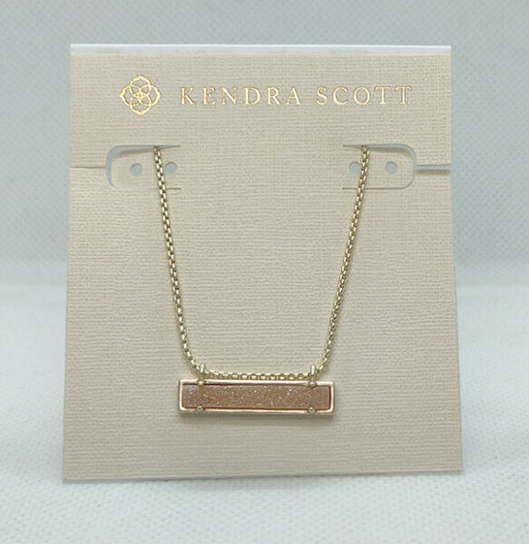 New Kendra Scott Leanor Pendant Necklace In Rose Drusy Matte Gold