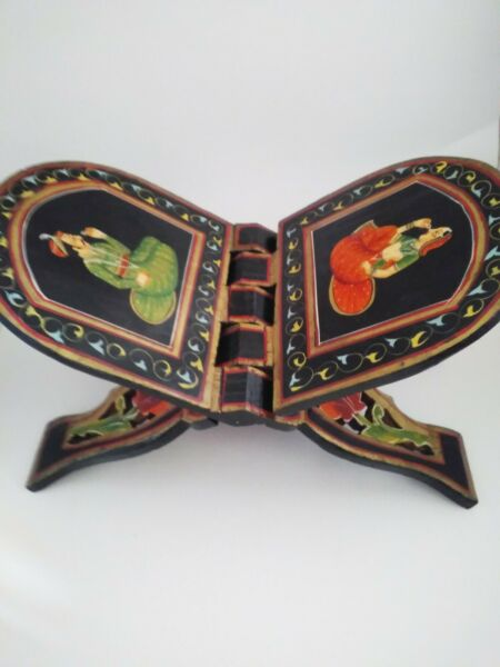 Vintage Hand Painted Indian Wood Folding Rack Book Stand Mughal $79.99