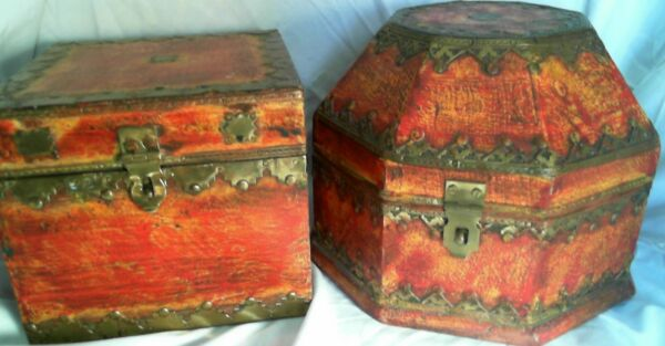 2 Unique Vintage Made in India Wooden Boxes with Brass Trim Set Very Nice