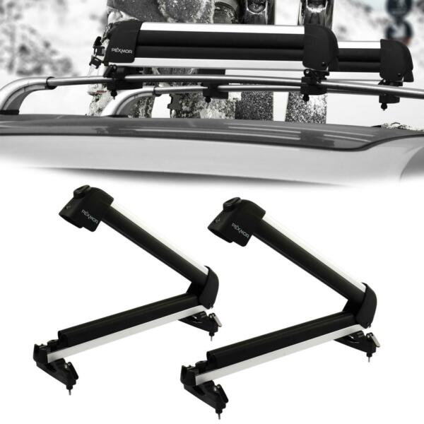 Universal Roof Mount Snowboard Car Rack fits 4 Snowboards amp; 8 Pairs Ski Carrier $75.89