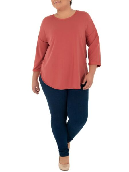 Terra amp; Sky Women#x27;s Plus Size Super Soft French Terry Coral 3 4 Sleeve Tunic Top $12.74