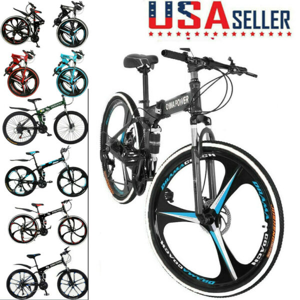 26in Folding Full Suspension Mountain Bicycle Road MTB Bike Shimano 21 Speed New $182.99