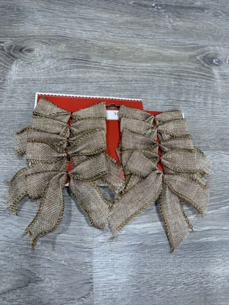 Christmas Burlap Brown Gift Bow Pack Of 10 New Holiday Time
