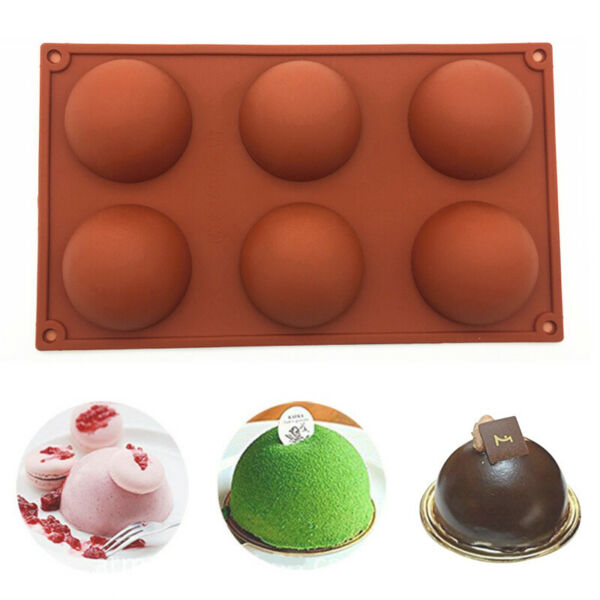 Large Half Ball 6 Cell Silicone Chocolate Mold Sphere Cupcake Cake Baking Mold