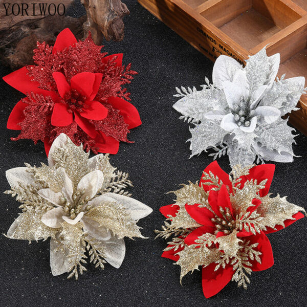 10x Artificial Christmas Glitter Flower Tree Hanging Xmas Party Tree Decoration $7.99
