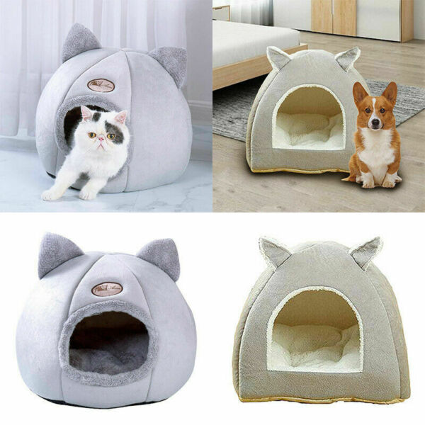 Pet Cat Dog Beds Nest Puppy Sleeping Cushion Cave Plush Warm Kennel House Tents $19.29