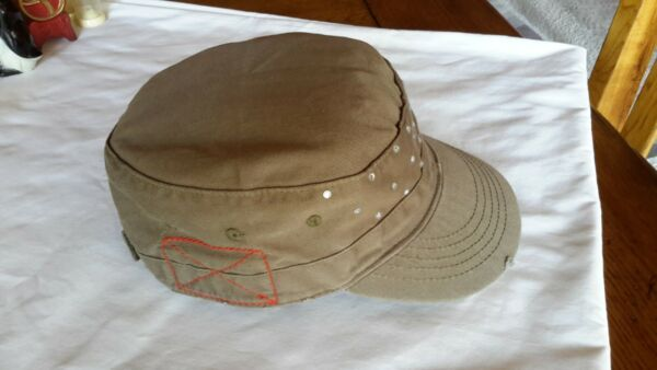 New Cadet Military Style Cap Hat with Bling Trim Castro Patrol Baseball Brown