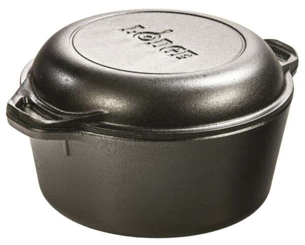 Lodge Pre Seasoned Cast Iron Double Dutch Oven With Loop Handles 5 QT