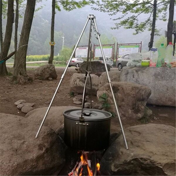 Cooking Tripod Outdoor Camping Fire Pit Pot Stand Grill Grate Holder BBQ Hanger