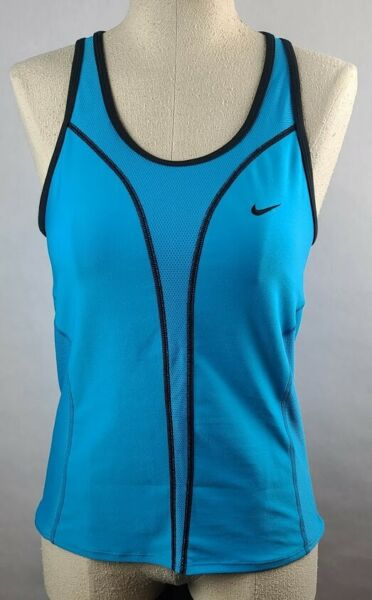 Nike Womens Dri Fit Racerback Blue and Black Running Tank Top Size Medium NWT