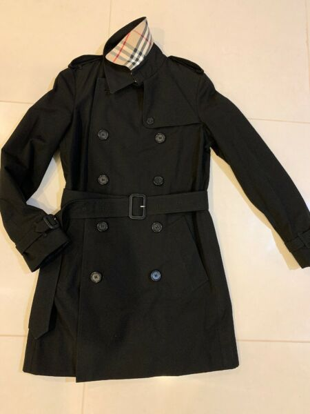 New Burberry Women Nova Classic Double Chested Trench Black Mid Length Coat Sz 6 $499.00