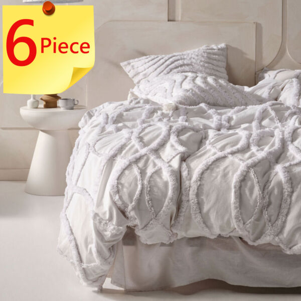 Linen House Amadora White Doona Duvet Quilt Cover Set 6 Piece Pack King AU $449.95