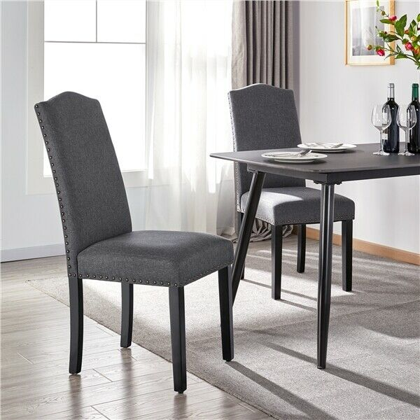 Classic Dining Chair Fabric Upholstered Chair for Weeding Hotel 2PCS Dark Gray