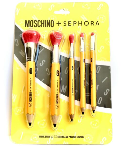 MOSCHINO SEPHORA 5 Piece Pencil Brush Set LIMITED EDITION NEW IN PKG FAST SHIP $99.00