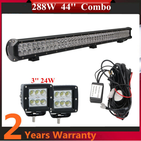 288W 44#x27;#x27; LED Work Light Bar3#x27;#x27; 24W Wire Harness Truck Chevrolet Boat Roof SUV $71.40