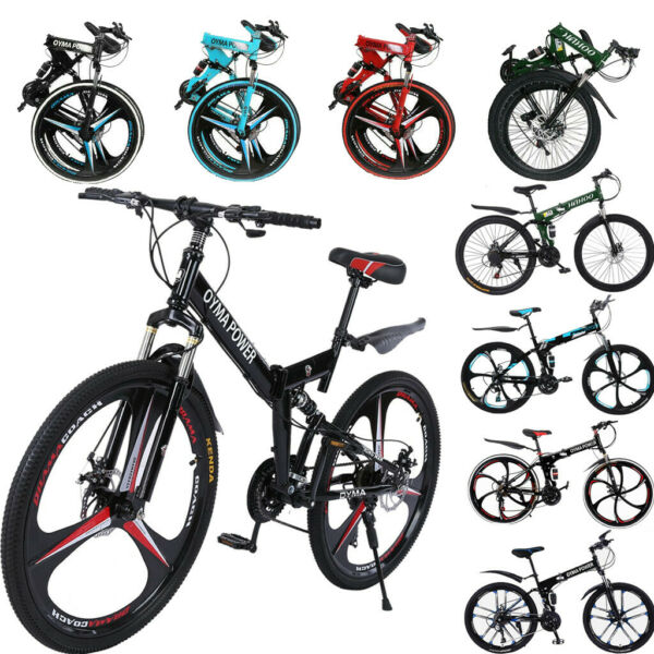 26quot; Folding Mountain Bike 21 Speed Bicycle Full Suspension Disc Brakes MTB Bike $206.99