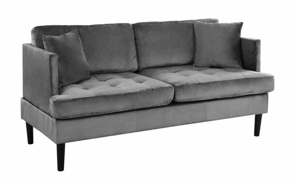 Mid Century Modern Velvet Loveseat Sofa with Removable Tufted Seat Cushions Grey