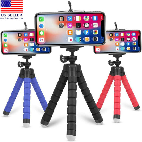 Tripod Stand w Phone Holder Mini Octopus Small Adjustable Mount iPhone Samsung