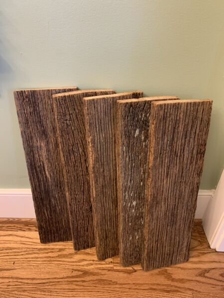 18quot; Reclaimed Rustic Fence Boards 5 Planks Weathered Barn Wood Style Aged $27.00