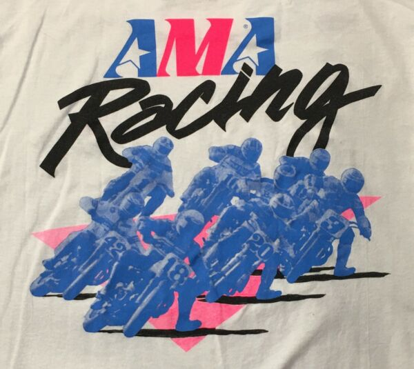 AMA Racing T shirt white XL flat dirt track long sleeve cotton polyester $11.99