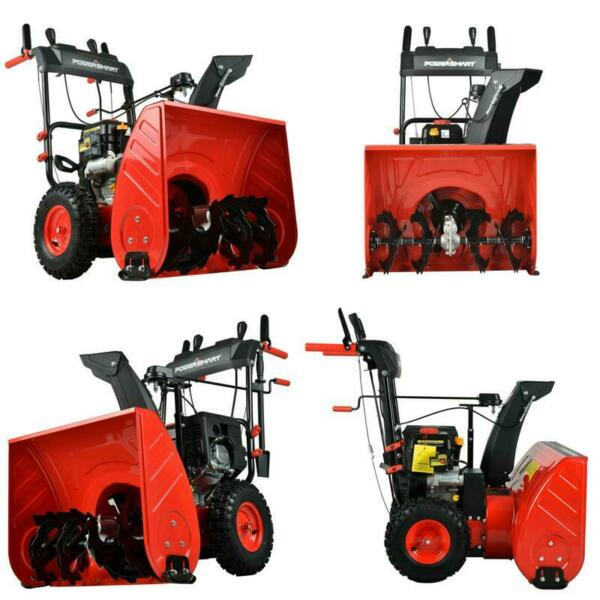 24quot; 212cc Two Stage Self Propelled Gas Heavy Duty Snow Blower w Electric Start
