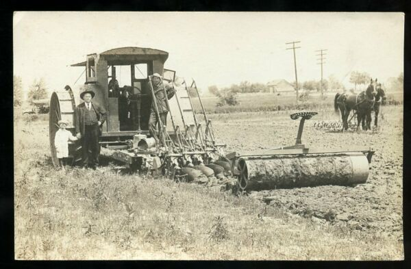 c.1910 RPPC Steam Plough Sugar Beet Land Farm Real Estate DURAND MICHIGAN