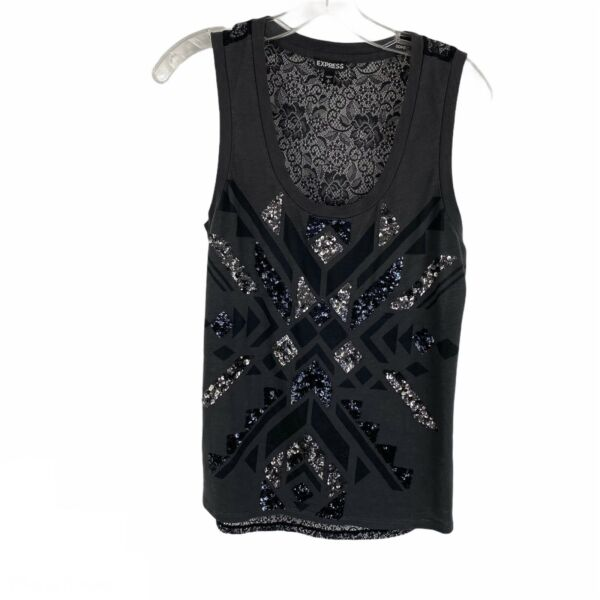 Express Gray Black Sequin Sexy Lace Back Scoop Neck Tank Top Womens Size Small S