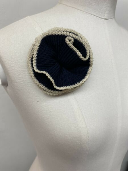 Stunning Signed ST. JOHN Navy Flower Knit Brooch Adorn A Jkt Lapel Purse Etc.