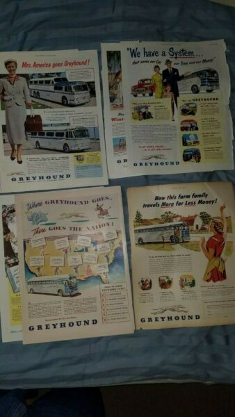 Vintage Ads Greyhound Bus Lot of 7 1940#x27;s 50#x27;s